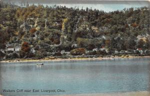E96/ East Liverpool Ohio Postcard c1910 Walkers Cliff Boat River