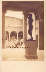 1918 Cleveland Ohio Real Photo Postcard: Rodin Bronze at The Museum of Art