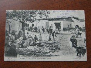 Tunisia UDB Postcard 1904 Postmark Bazzar Arab Merchant Quarter