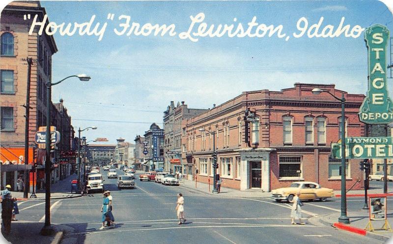 Lewiston Idaho~Downtown Street Scene~Stage Depot~Rexall Drug~Classic Cars~1950s