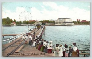 Chautauqua Lake New York~Trolley on Celoron Dock~Ladies Wait~Ferris Wheel~c1905