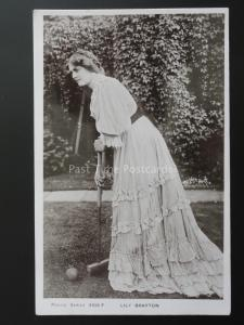 Actress LILY BRAYTON plays CROQUET c1906 Old RP Postcard by Philco 3103 F