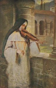 Nun Playing Violin Ave Maria by Hermann Kaulbach Leipzig