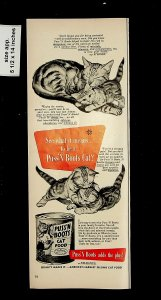 1951 Puss N Boots Cat Food Vintage Print Ad 015726
