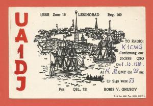 QSL AMATEUR RADIO CARD – LENINGRAD, RUSSIA, USSR – 1980