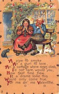 To My Valentine Raphael Tuck Leatherette Poem Cat Bench Couple Postcard