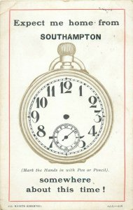 Expect me home from SOUTHAMPTON time clock novelty old postcard