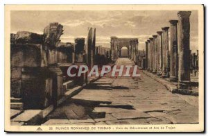 Old Postcard Roman Ruins of Timgad Voia the Decumanus and Arch of Trajan