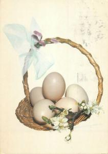 easter egg & blossoms ornamental basket greetings postcard