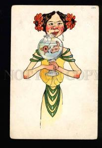 040785 Funny Lady w/ Aquarium vintage colorful