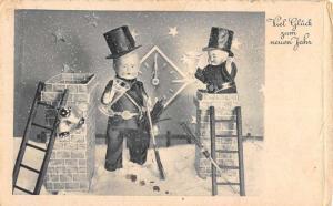 German New Year Greeting Chimney Sweep Children Antique Postcard K80149