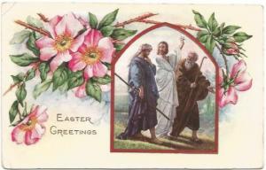 Jesus Walking With Disciples After Resurrection Vintage Postcard Easter Greeting