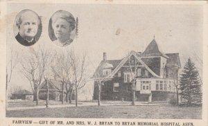 LINCOLN , Nebraska , 1907 ; Bryan Memorial Hospital Fairview