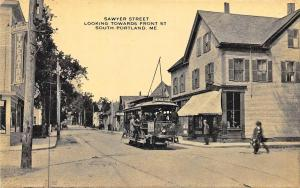 South Portland ME Sawyer Street Storefronts Theatre Trolley, Postcard