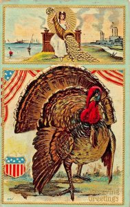 PATRIOTIC THANKSGIVING~HORN OF PLENTY WITH GOLD-TURKEY EMBOSSED 1909 POSTCARD