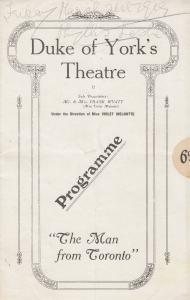 The Man From Toronto Comedy Duke Of Yorks London Theatre Programme
