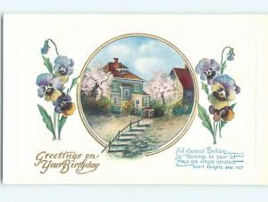 Unused Divided-Back birthday STEPS UP TO HOUSE & BEAUTIFUL PANSY FLOWERS o9569