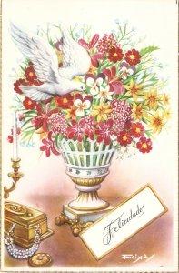 Beautiful flowers in vase. Dove  Nice Spanish postcard 195'0s