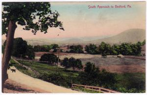 1907-1915 South Approach to Bedford PA RARE Hand Colored German Divided Postcard