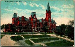 Macon, Georgia Postcard Wesleyan College Main Building / Campus View c1910s