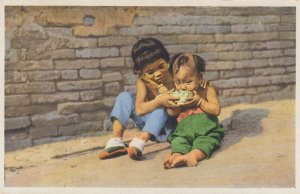 Lunch Food Time for Young Chinese Peking Rare Vintage Postcard