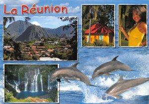 Ocean Indien La Reunion Waterfall Dolphins Panoramic view Postcard