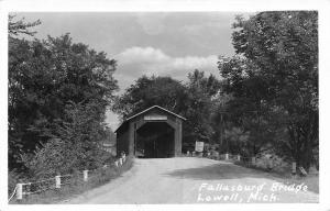 Lowell MI Fallasburg Covered Bridge~Drive No Faster Than A Walk RPPC 1940s