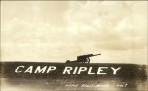 Little Falls MN Camp Ripley Letters & Cannon Real Photo Postcard