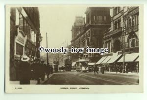tq0009 - Lancs - Busy Church Street with Shoppers & Trams, Liverpool - postcard