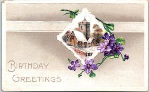 1910s BIRTHDAY GREETINGS Embossed Postcard Winter Church Scene / Purple Flowers