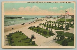 Galveston Texas~Gulf & Boulevard from Hotel Galvez~Flagpole~c1922~Postcard
