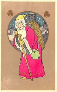 Merry Christmas Pink Suited Santa Claus Staff Carrying Basket Postcard