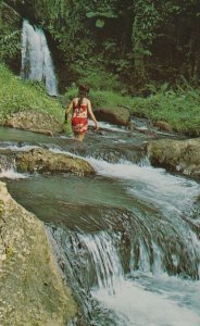 SAMOA , 50-60s ; Girl & Waterfall