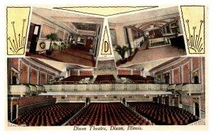 Rare Early Dixon Theatre Interior Christmas Card Dixon IL Illinois Postcard A723