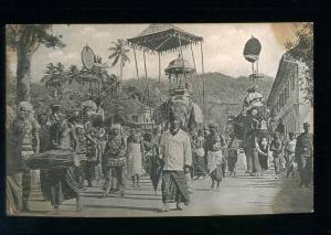 213617 CEYLON KANDY Perahera native musicians Vintage postcard