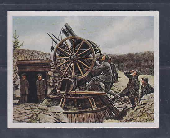 GERMANY TOBACCO CARD WWI 6x5 cms. SOLDIERS, CANNON AAD5171