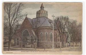 Presbyterian Church Logan Ohio 1908 hand colored postcard