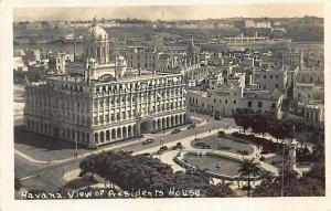 Habana Cuba Presidential Palace Aerial Harbor View & Ship Real Photo Postcard