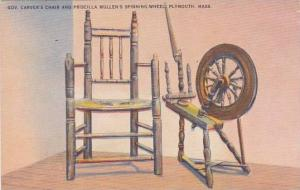 Massachusetts Plymouth Gov Carvers Chair And Priscilla Mullens Spinning Wheel