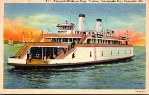 Maryland Annapolis Annapolis-Claiborne Ferry Crossing Chesapeake Bay Curteich