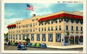 Shelby, North Carolina Postcard HOTEL CHARLES Downtown Street View Linen 1940s