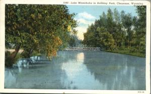 Lake Minnehaha in Holliday Holiday Park - Cheyenne WY, Wyoming - pm 1940 - Linen