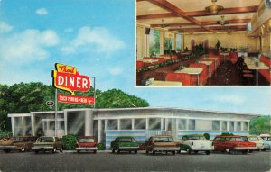 Trail Diner 22 Miles North of Harrisburg Routes 11 & 15 Old Cars Postcard