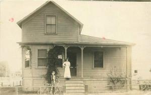 1910 Stockton California Frame House Bicycle RPPC Photo Postcard 3393