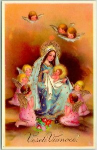 Vintage CHRISTMAS Embossed Postcard ANGELS Mary Jesus Vesele Vianoce! #2808