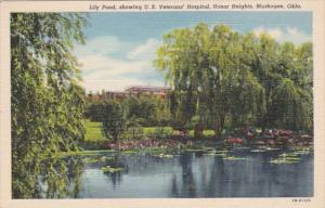 Oklahoma Muskogee Lily Pond Showing U S Veterans Hospital Honor Heights Curteich