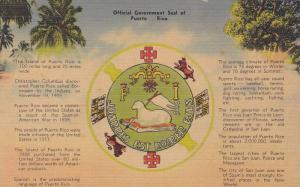 Official Government Seal Of Puerto Rico, 1930-1940s
