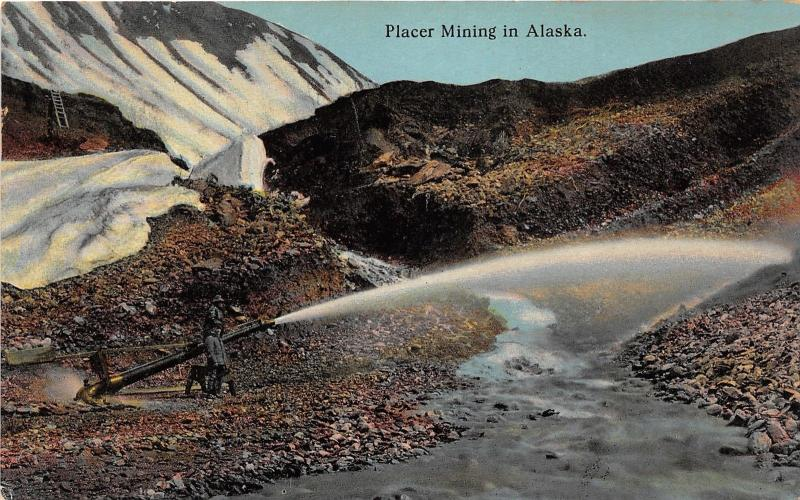 Placer Mining in Alaska~Men Spraying Water by Stream~Ladder in Distance~c1910 Pc