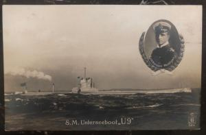 Mint Germany Real Picture Postcard RPPC SM U boat 9 WW1 Commander Weddigen