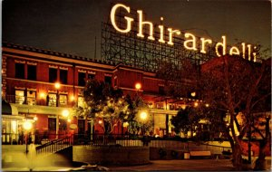 Postcard Ghirardelli Square San Francisco California NIGHT VIEW CHROME
